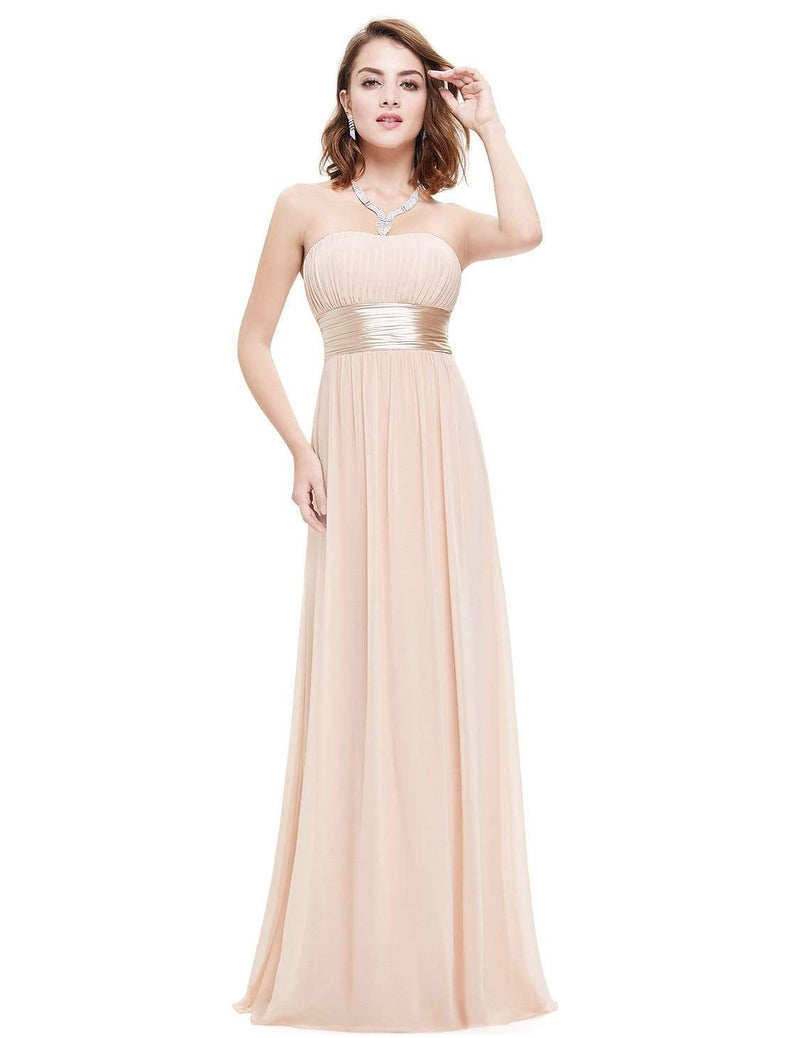 Strapless Empire Waist Long Chiffon Bridesmaid Dress-Blush 5