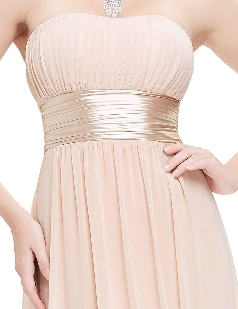 Strapless Empire Waist Long Chiffon Bridesmaid Dress-Blush 6