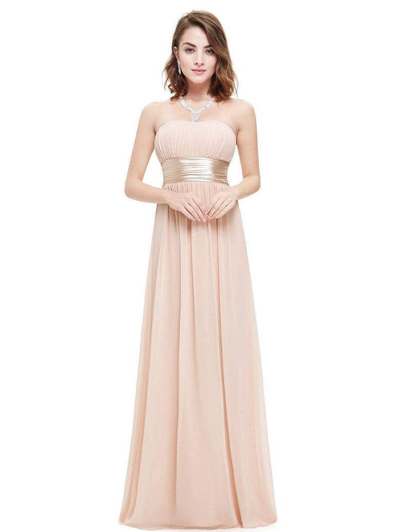 Strapless Empire Waist Long Chiffon Bridesmaid Dress-Blush 1