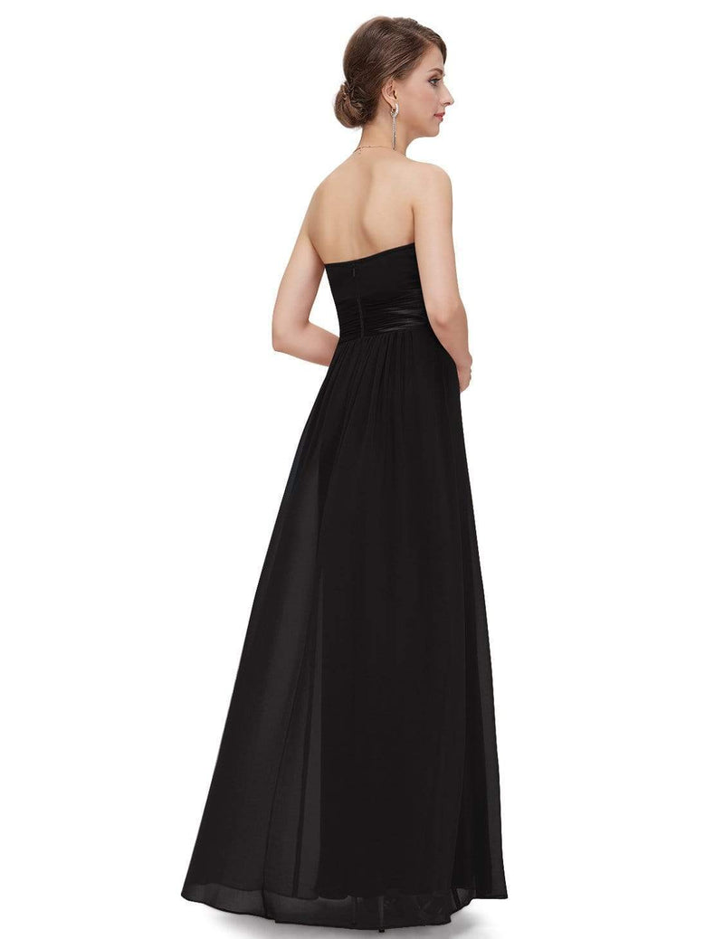 Strapless Empire Waist Long Chiffon Bridesmaid Dress-Black 3