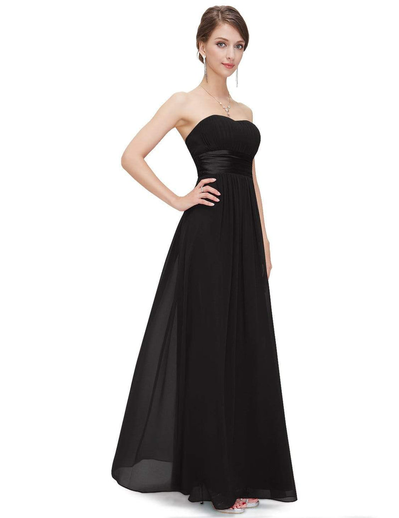 Strapless Empire Waist Long Chiffon Bridesmaid Dress-Black 5
