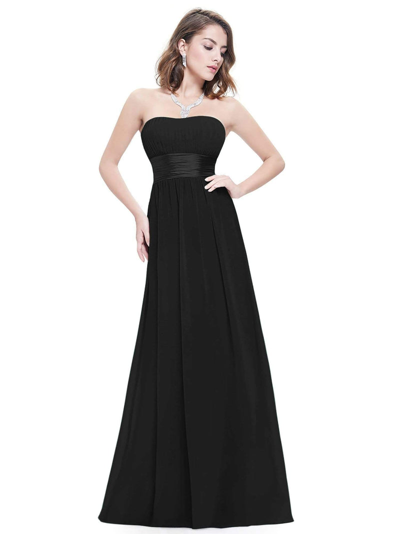 Strapless Empire Waist Long Chiffon Bridesmaid Dress-Black 7