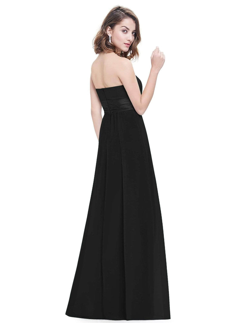 Strapless Empire Waist Long Chiffon Bridesmaid Dress-Black 8