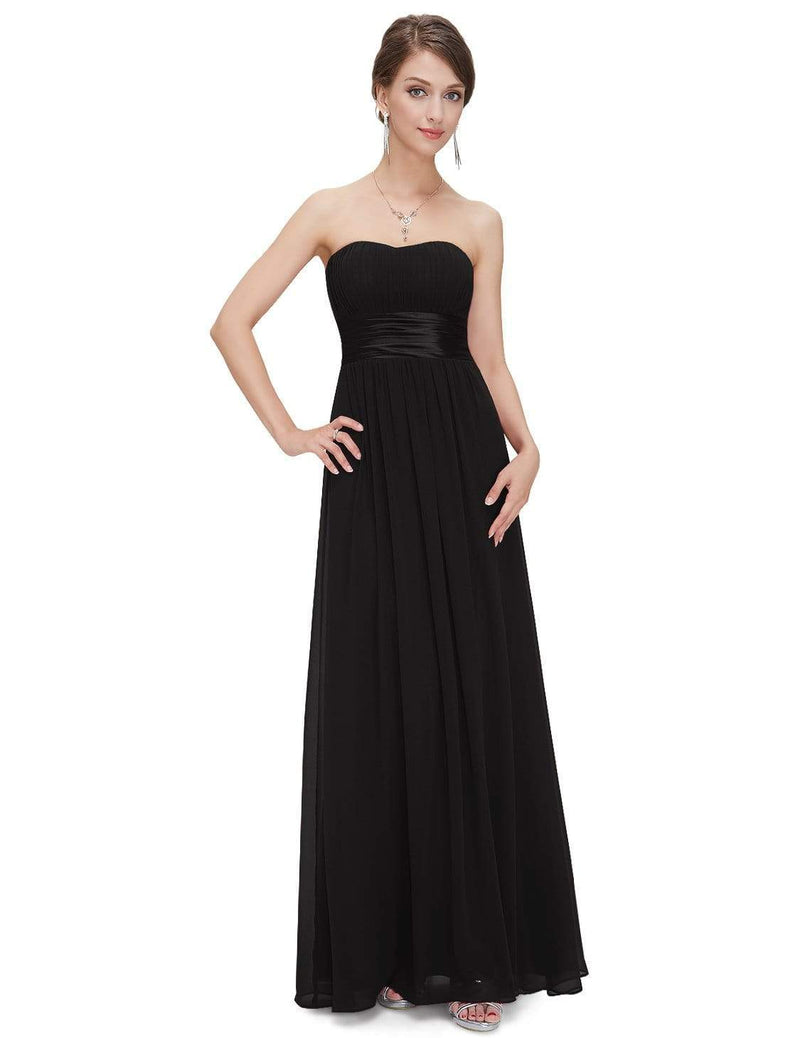 Strapless Empire Waist Long Chiffon Bridesmaid Dress-Black 1