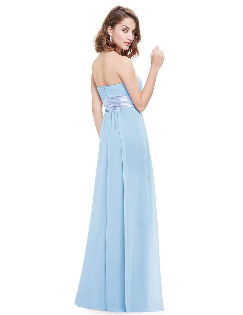 Strapless Empire Waist Long Chiffon Bridesmaid Dress-Sky Blue 3