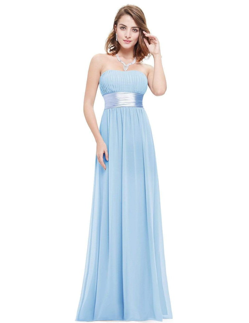Strapless Empire Waist Long Chiffon Bridesmaid Dress-Sky Blue 4
