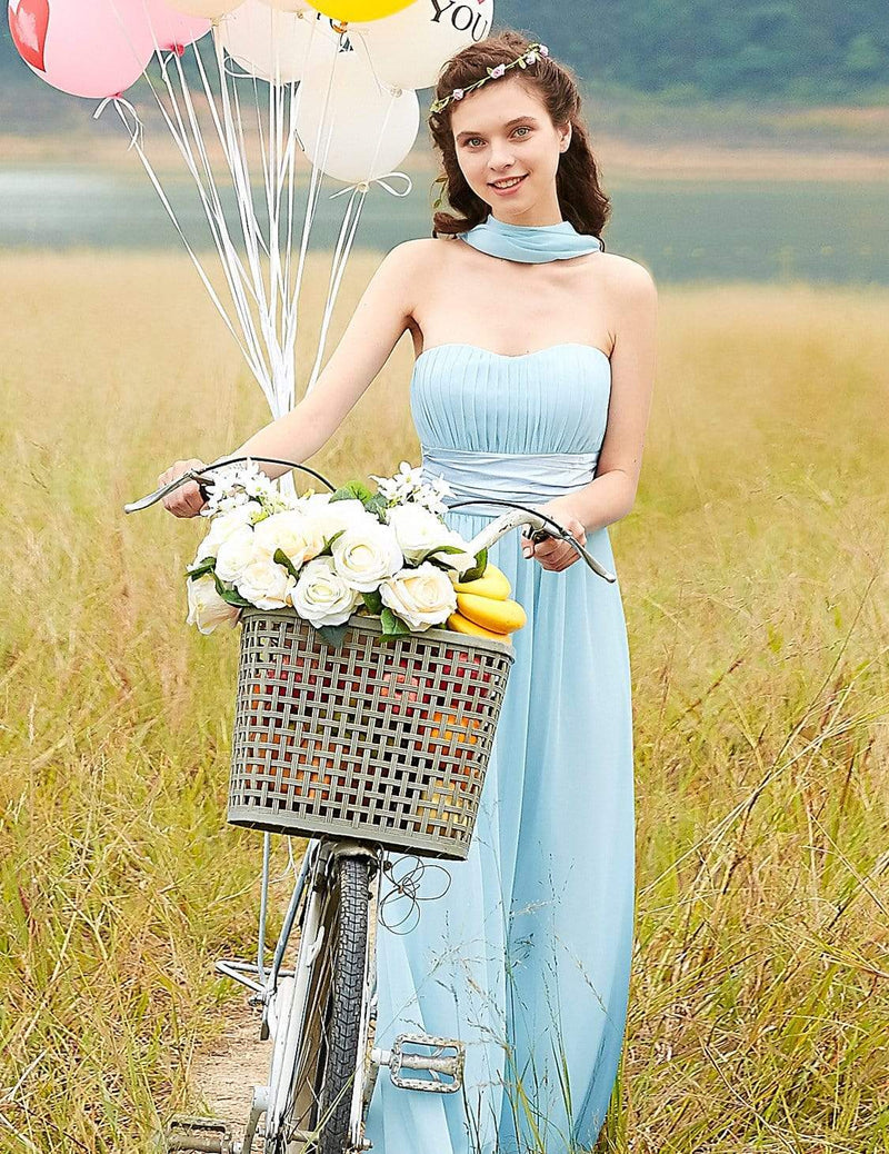 Strapless Empire Waist Long Chiffon Bridesmaid Dress-Sky Blue 5