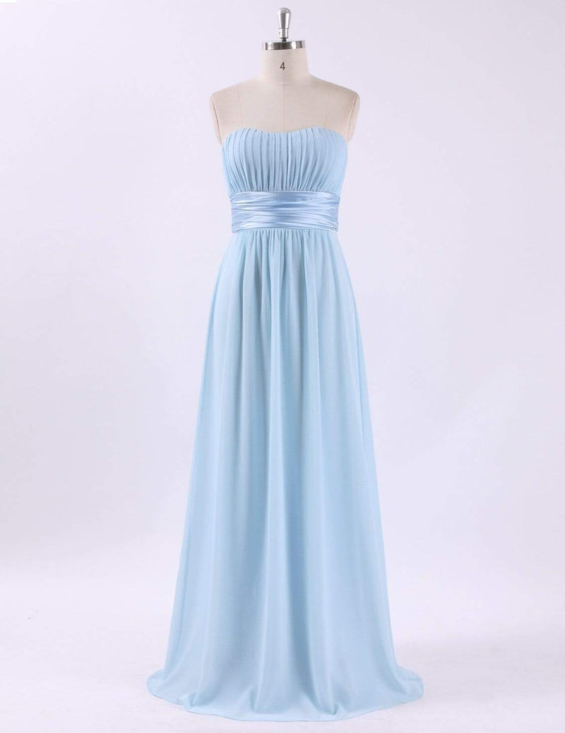 Strapless Empire Waist Long Chiffon Bridesmaid Dress-Sky Blue 6