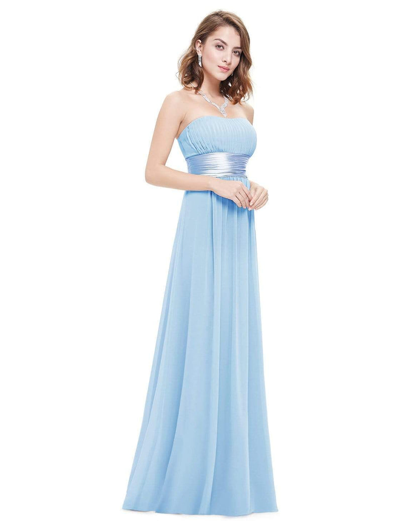 Strapless Empire Waist Long Chiffon Bridesmaid Dress-Sky Blue 1
