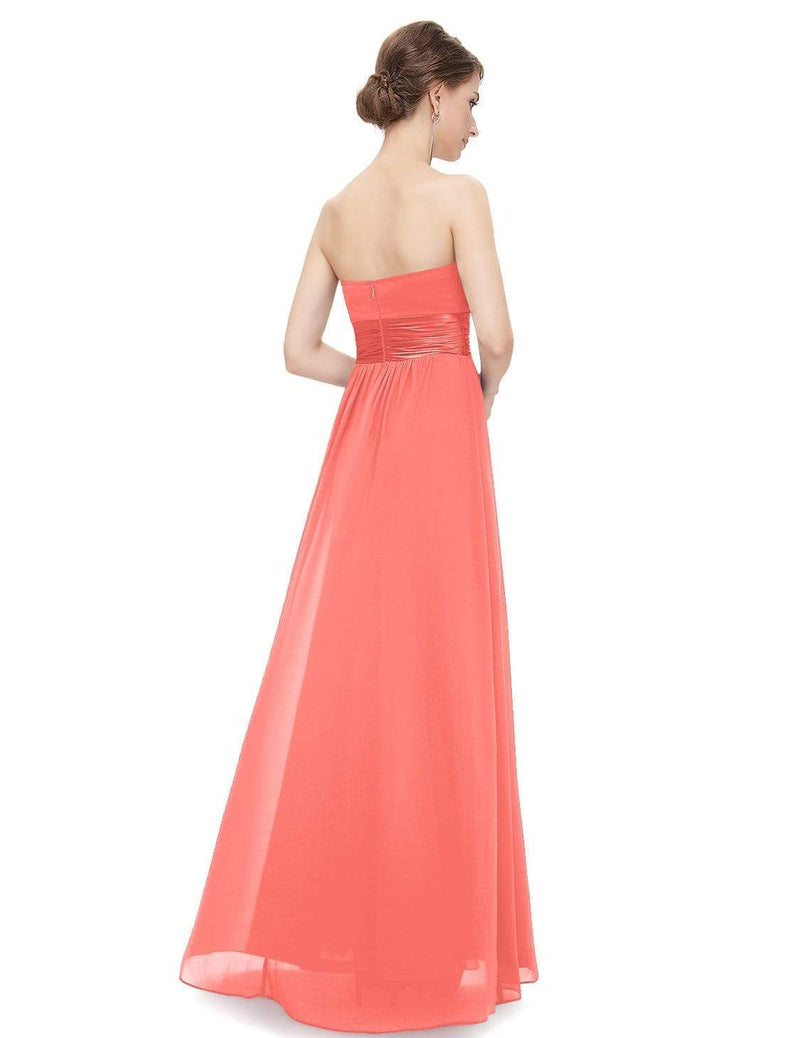 Strapless Empire Waist Long Chiffon Bridesmaid Dress-Coral 3