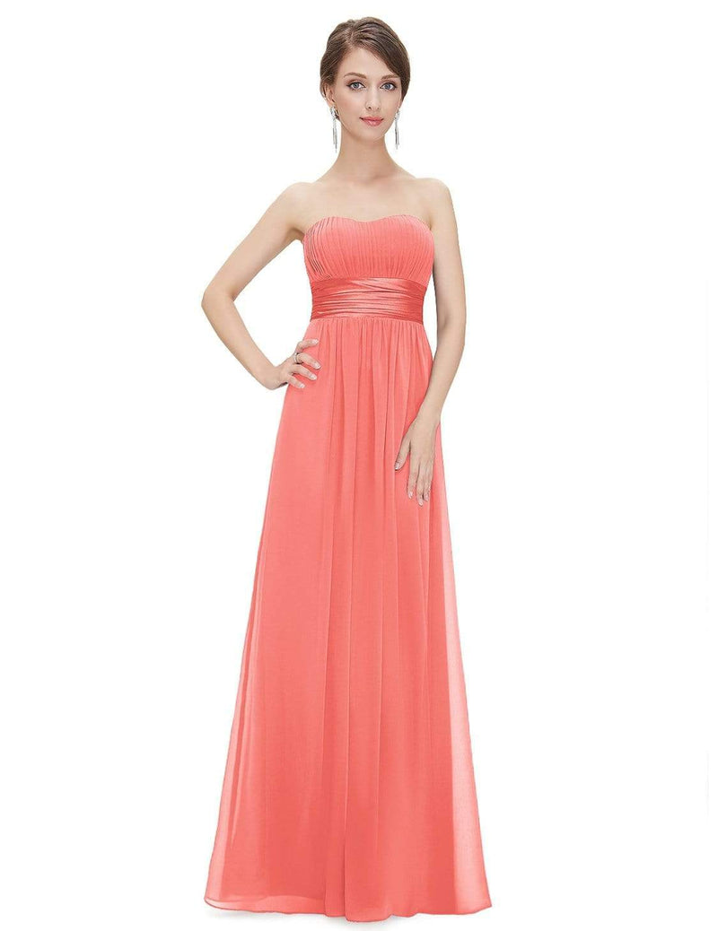 Strapless Empire Waist Long Chiffon Bridesmaid Dress-Coral 4