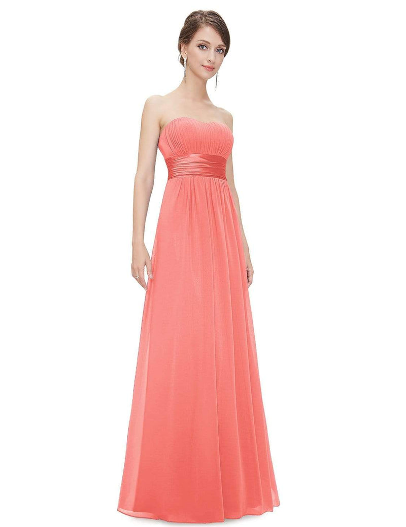 Strapless Empire Waist Long Chiffon Bridesmaid Dress-Coral 5