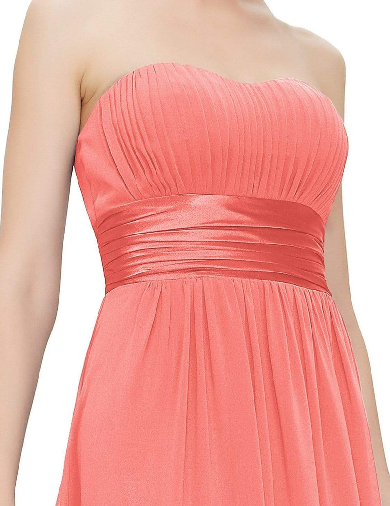 Strapless Empire Waist Long Chiffon Bridesmaid Dress-Coral 6
