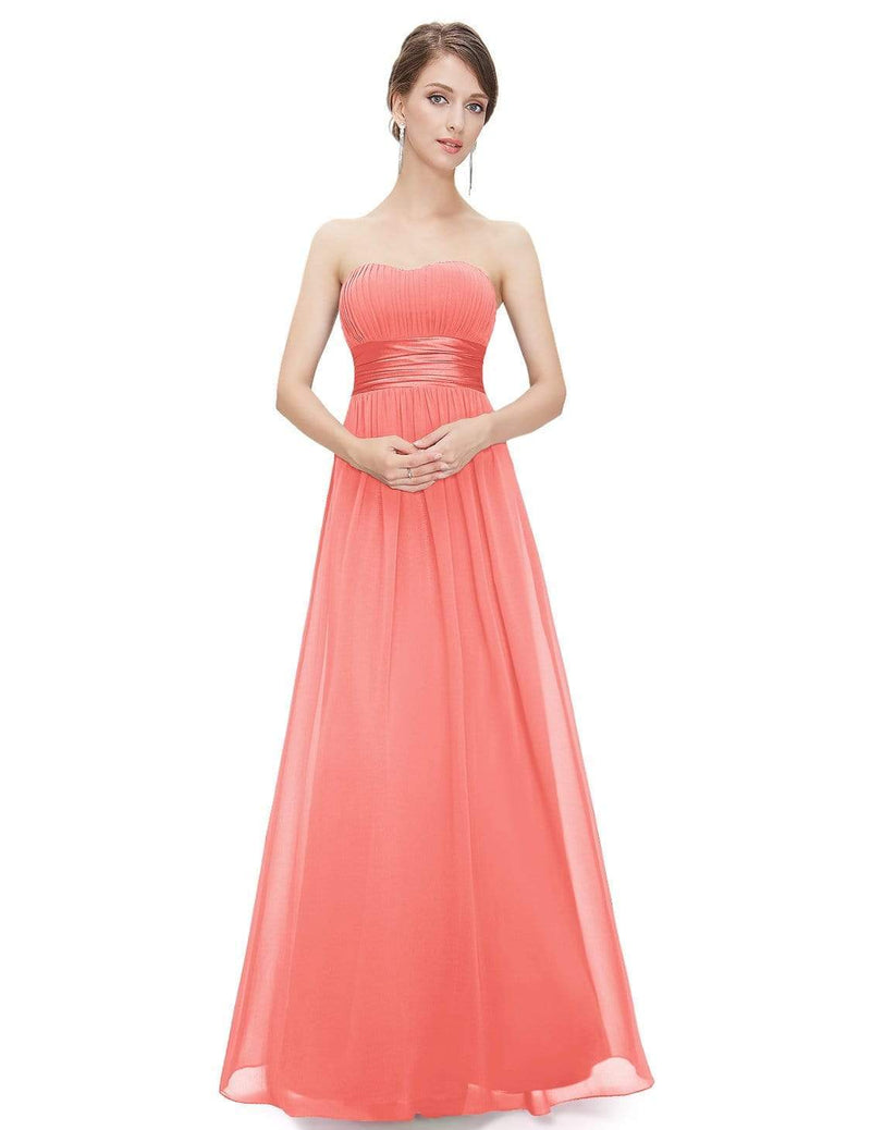 Strapless Empire Waist Long Chiffon Bridesmaid Dress-Coral 1