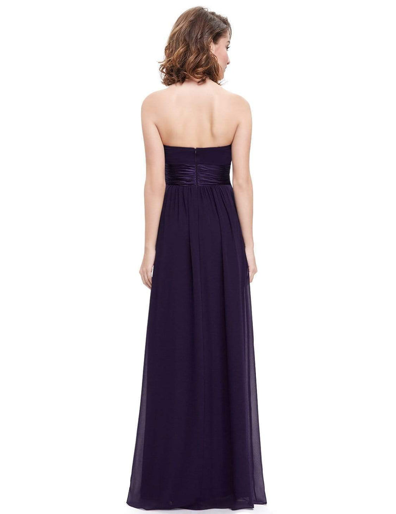 Strapless Empire Waist Long Chiffon Bridesmaid Dress-Dark Purple 3