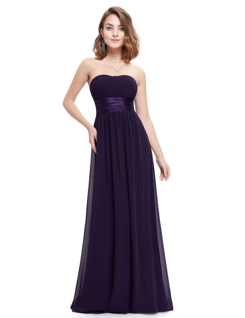 Strapless Empire Waist Long Chiffon Bridesmaid Dress-Dark Purple 4