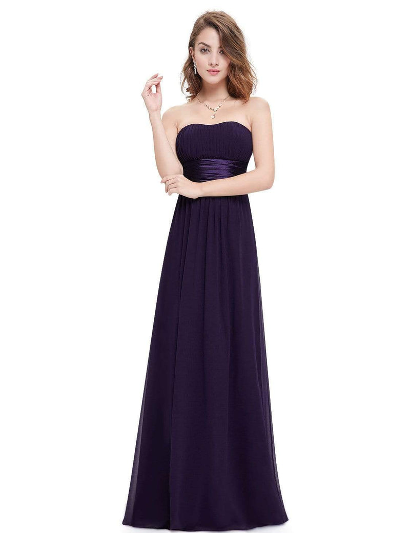Strapless Empire Waist Long Chiffon Bridesmaid Dress-Dark Purple 5