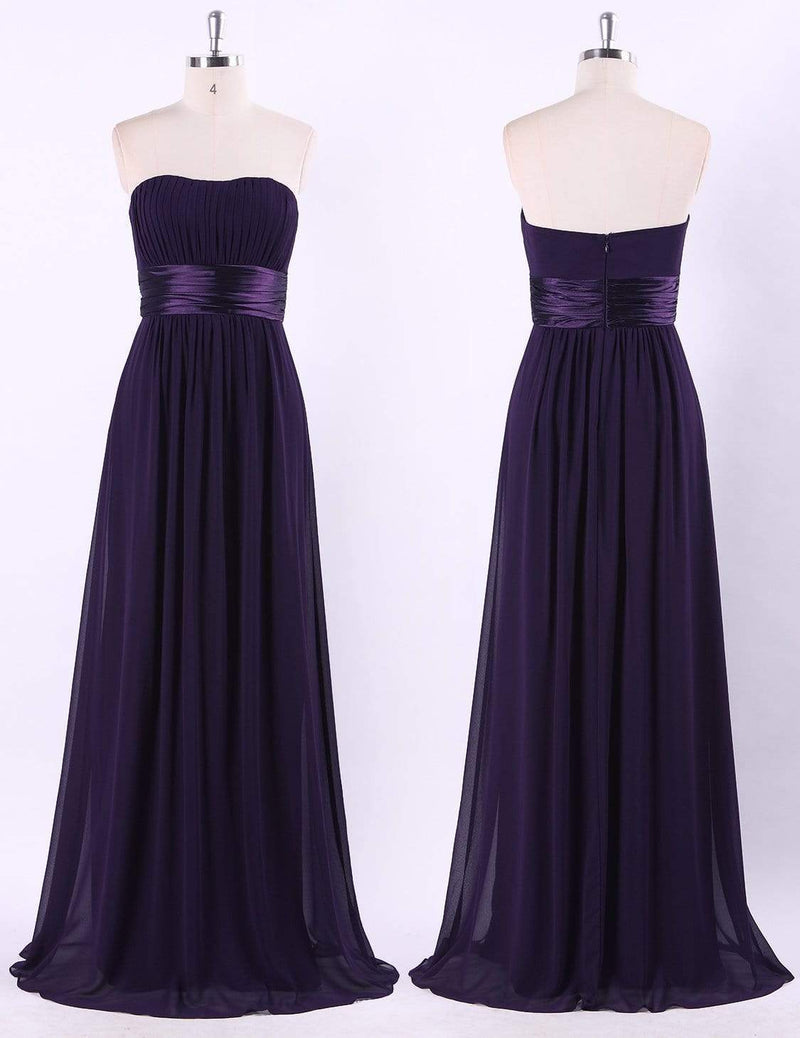 Strapless Empire Waist Long Chiffon Bridesmaid Dress-Dark Purple 7