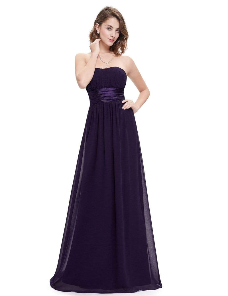Strapless Empire Waist Long Chiffon Bridesmaid Dress-Dark Purple 1