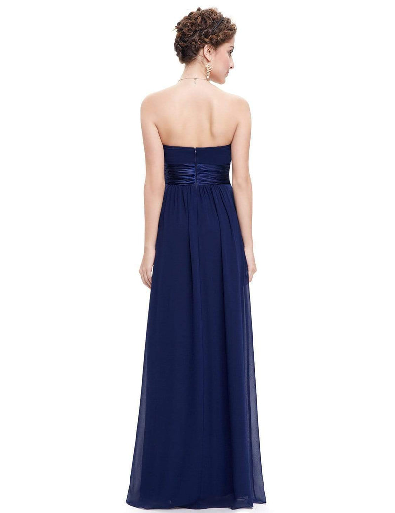 Strapless Empire Waist Long Chiffon Bridesmaid Dress-Navy Blue 3