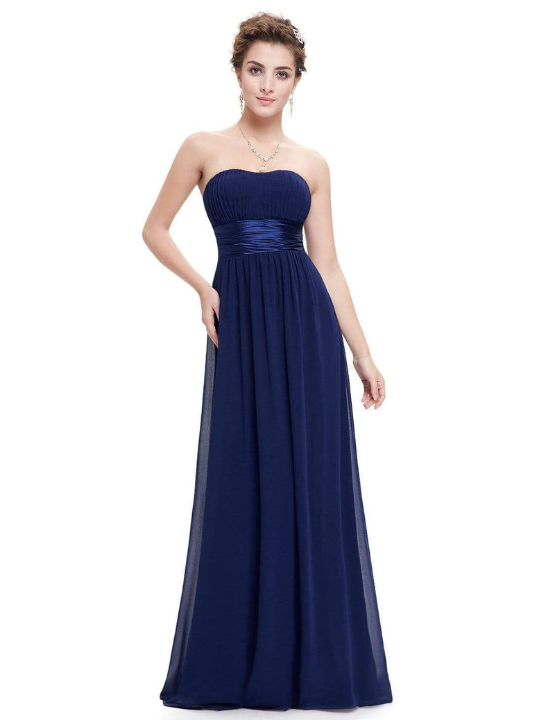 Strapless Empire Waist Long Chiffon Bridesmaid Dress-Navy Blue 4