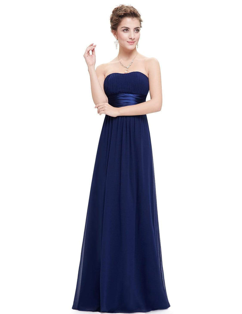 Strapless Empire Waist Long Chiffon Bridesmaid Dress-Navy Blue 5