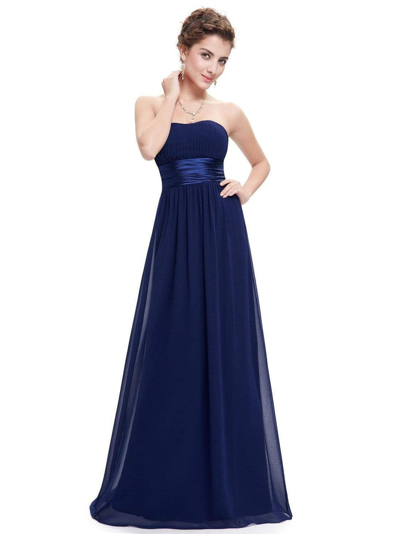 Strapless Empire Waist Long Chiffon Bridesmaid Dress-Navy Blue 1