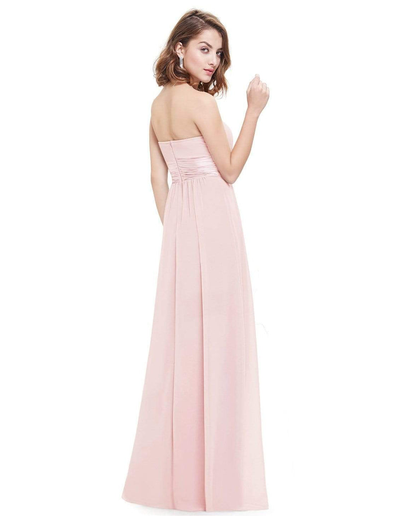 Strapless Empire Waist Long Chiffon Bridesmaid Dress-Pink 3