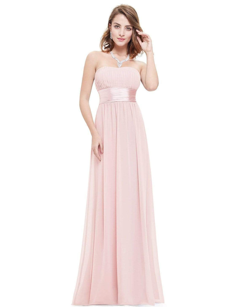 Strapless Empire Waist Long Chiffon Bridesmaid Dress-Pink 4
