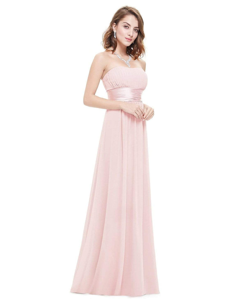 Strapless Empire Waist Long Chiffon Bridesmaid Dress-Pink 5
