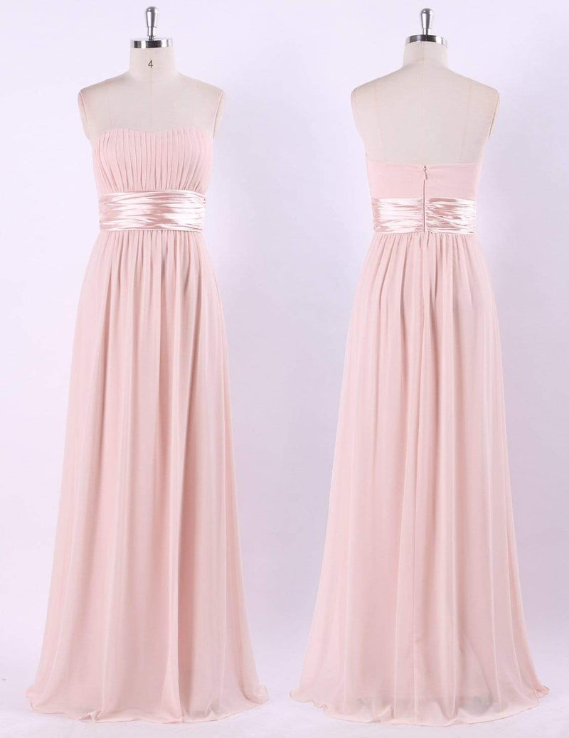 Strapless Empire Waist Long Chiffon Bridesmaid Dress-Pink 6