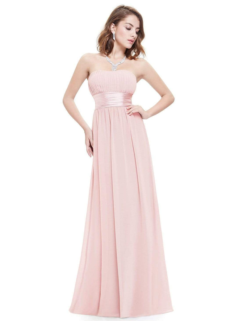 Strapless Empire Waist Long Chiffon Bridesmaid Dress-Pink 1