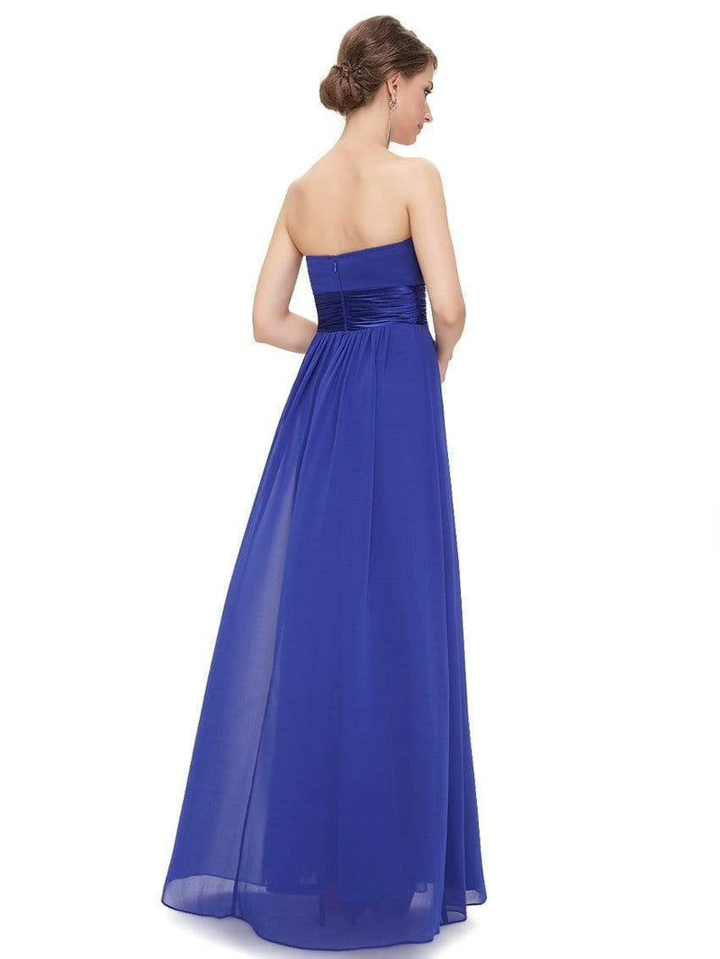 Strapless Empire Waist Long Chiffon Bridesmaid Dress-Sapphire Blue 3