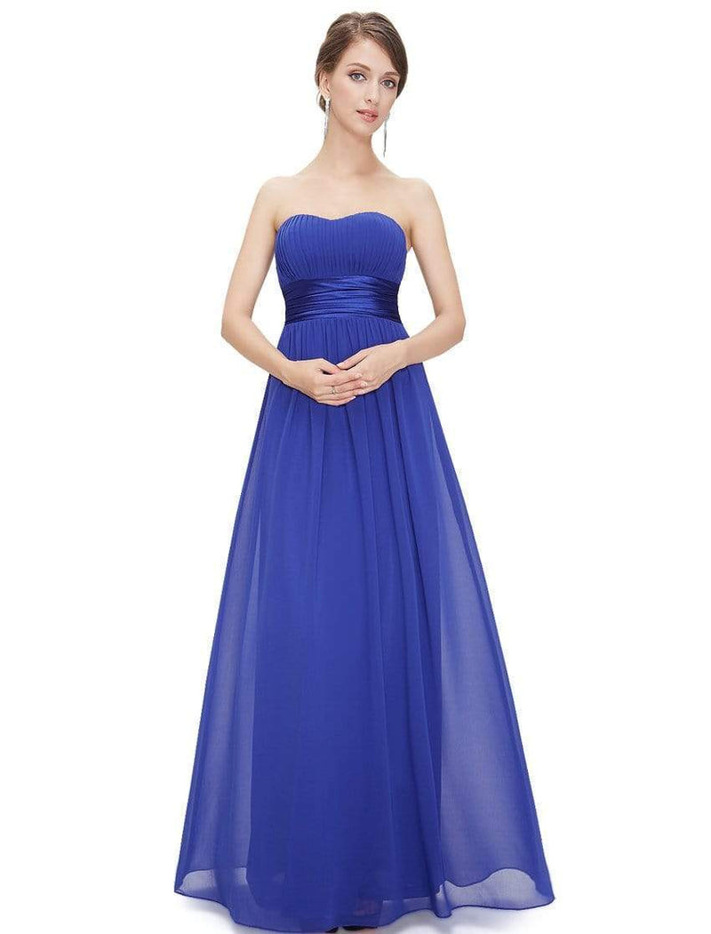 Strapless Empire Waist Long Chiffon Bridesmaid Dress-Sapphire Blue 4
