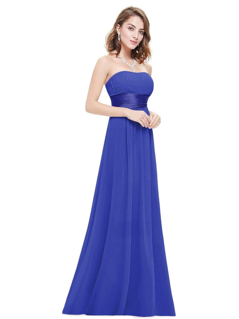 Strapless Empire Waist Long Chiffon Bridesmaid Dress-Sapphire Blue 5