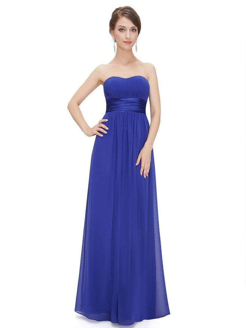 Strapless Empire Waist Long Chiffon Bridesmaid Dress-Sapphire Blue 1
