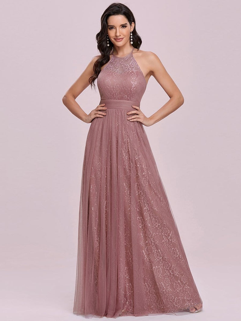 Elegant Halter Neck A Line Tulle Lace Bridesmaid Dress-Purple Orchid 1