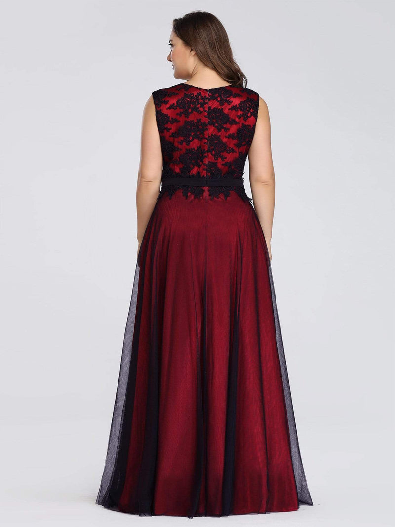 Plus Size Sleeveless Evening Dress With Black Brocade-Burgundy 2
