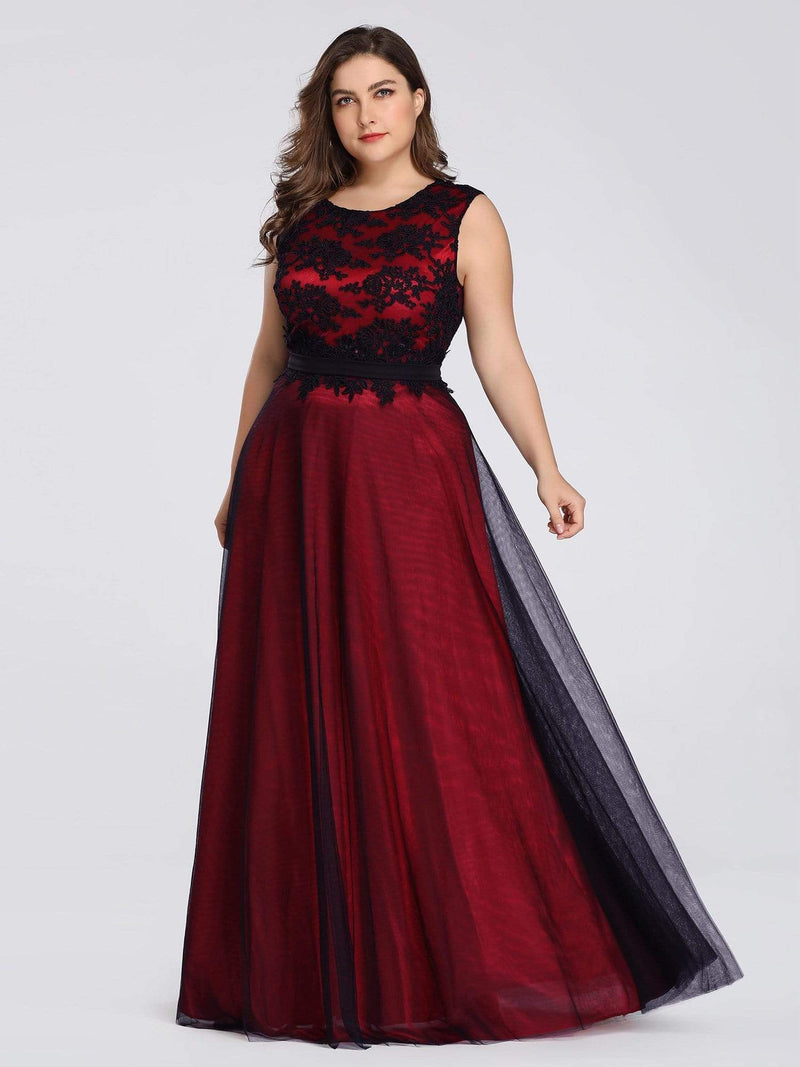 Plus Size Sleeveless Evening Dress With Black Brocade-Burgundy 3