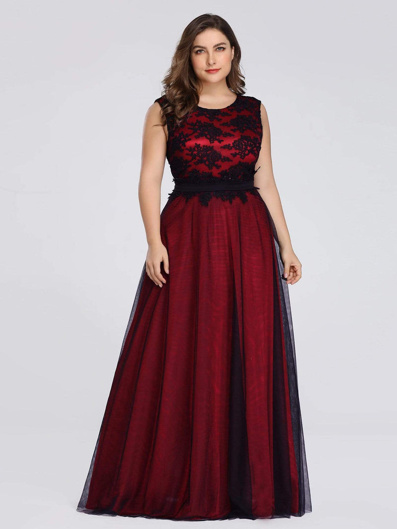 Plus Size Sleeveless Evening Dress With Black Brocade-Burgundy 1