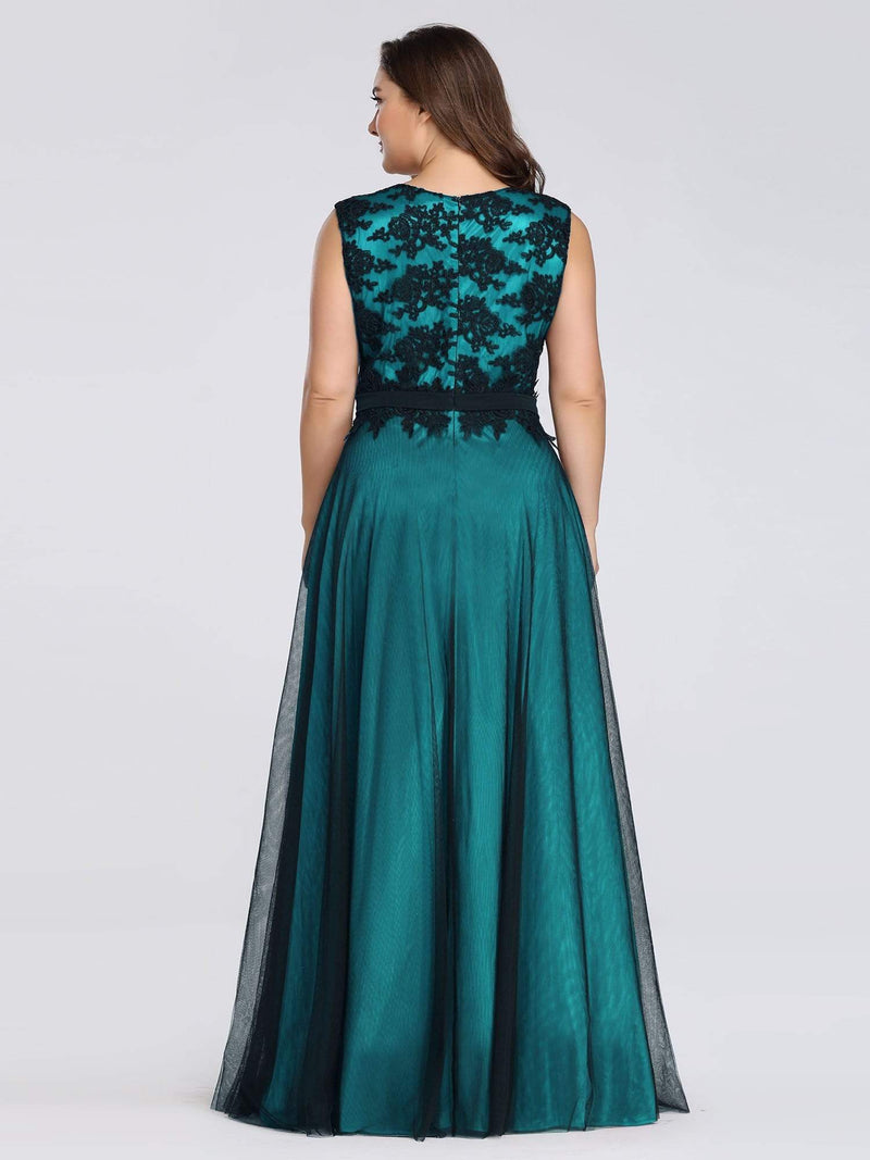 Plus Size Sleeveless Evening Dress With Black Brocade-Dark Green 2