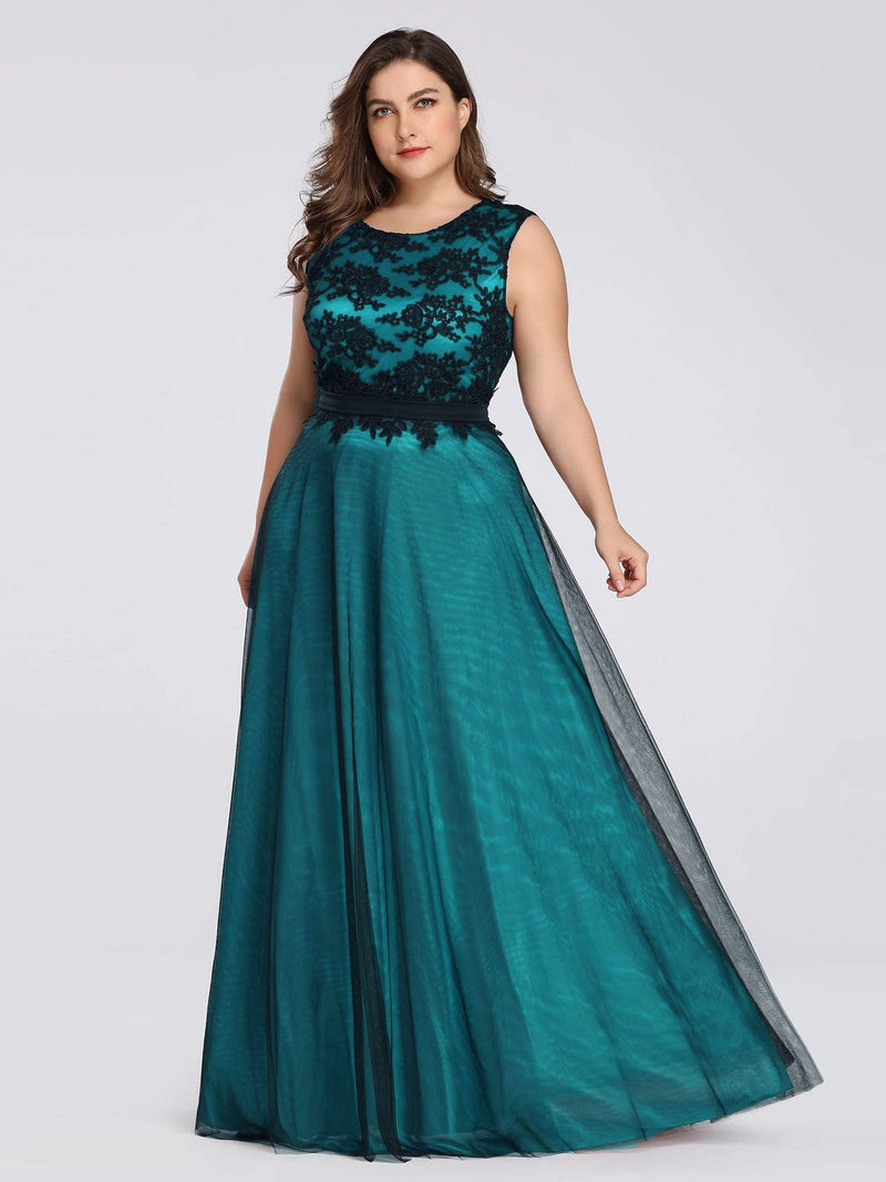 Plus Size Sleeveless Evening Dress With Black Brocade-Dark Green 3