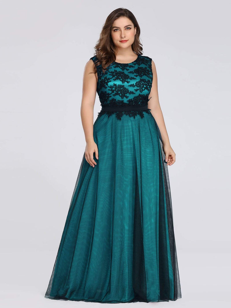 Plus Size Sleeveless Evening Dress With Black Brocade-Dark Green 4