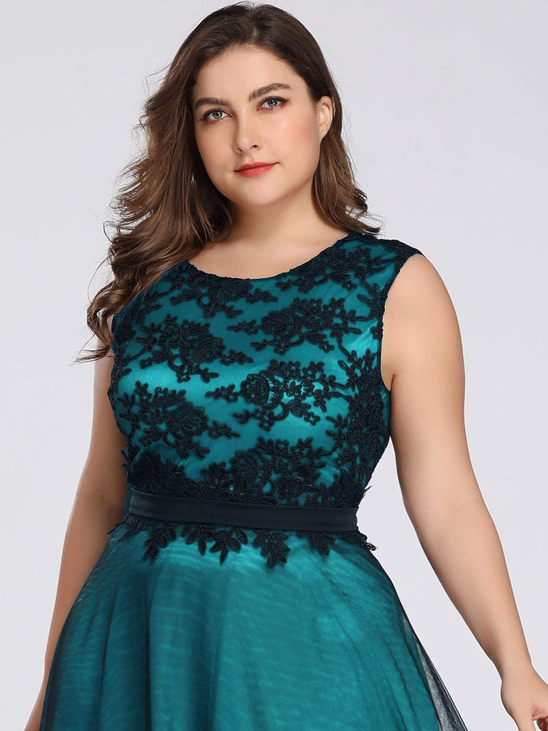 Plus Size Sleeveless Evening Dress With Black Brocade-Dark Green 5
