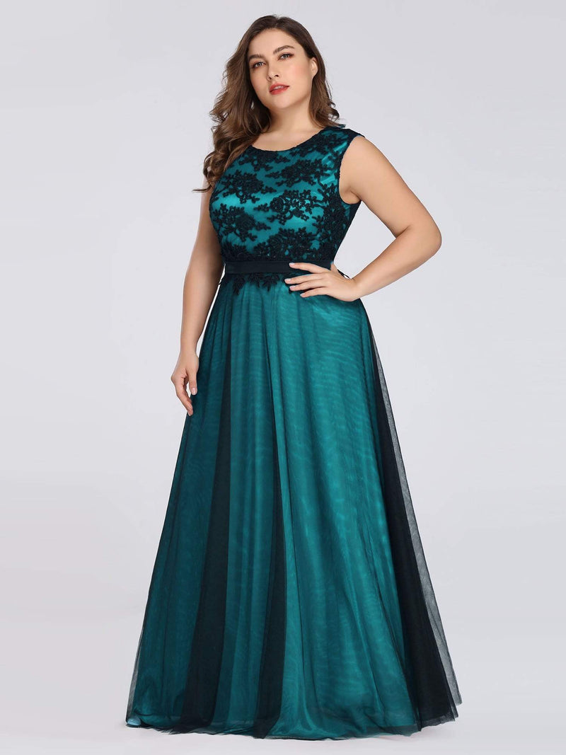Plus Size Sleeveless Evening Dress With Black Brocade-Dark Green 1