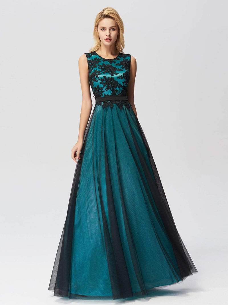 Sleeveless Evening Dress With Black Brocade-Dark Green 1