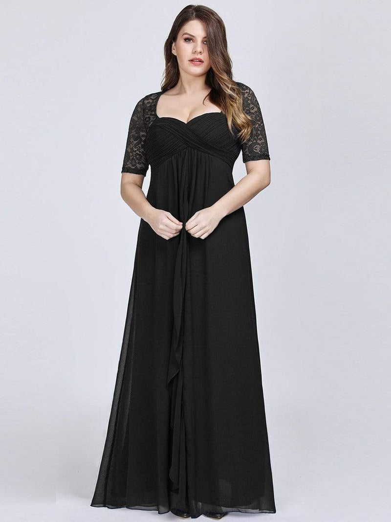 Plus Size Floor Length Empire Waist Evening Dress-Black1