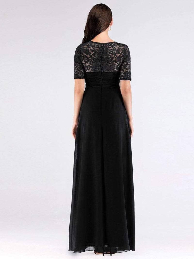 Plus Size Floor Length Empire Waist Evening Dress-Black2