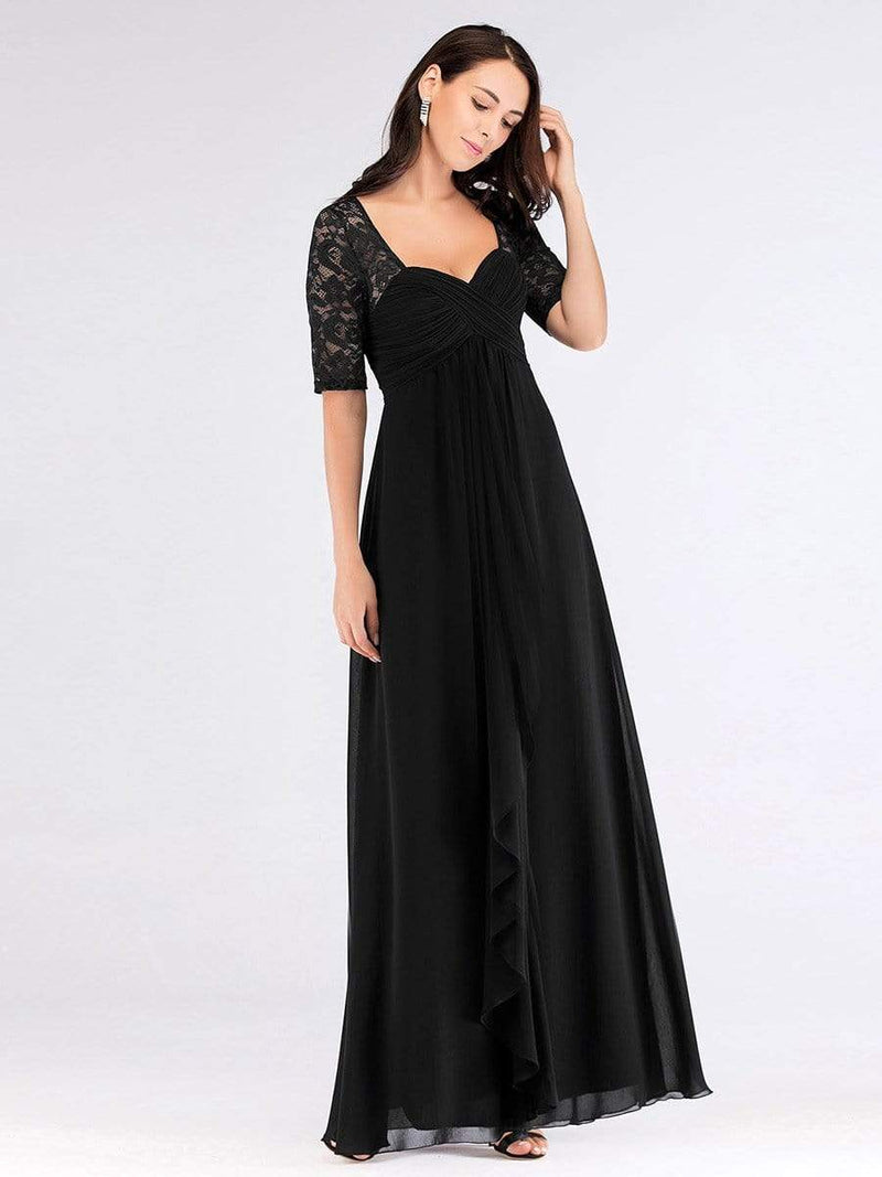 Plus Size Floor Length Empire Waist Evening Dress-Black3