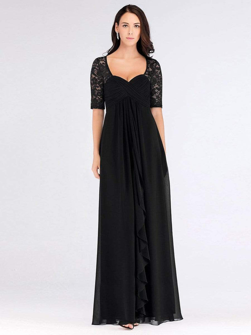 Plus Size Floor Length Empire Waist Evening Dress-Black4